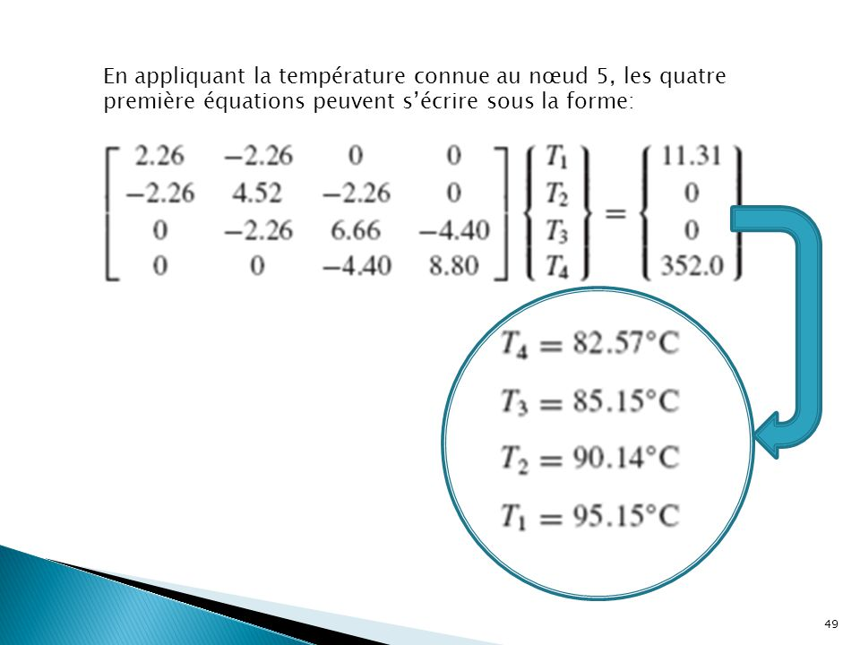 En appliquant la température connue au nœud 5, les quatre première équations peuvent s'écrire sous la forme: