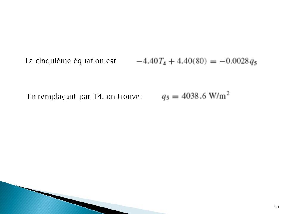 La cinquième équation est