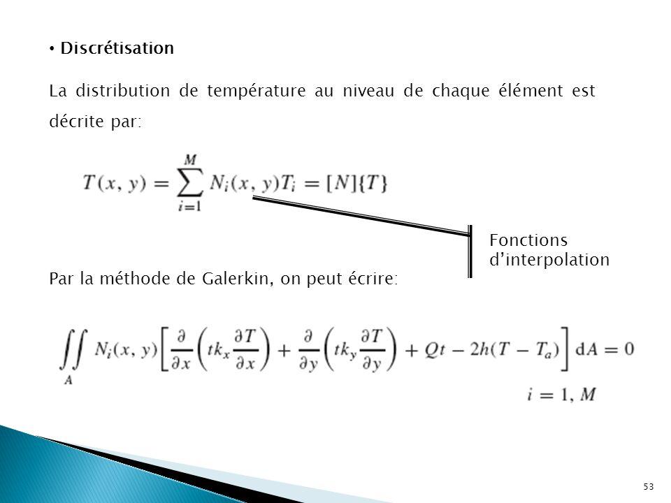 Discrétisation La distribution de température au niveau de chaque élément est décrite par: Fonctions d'interpolation.
