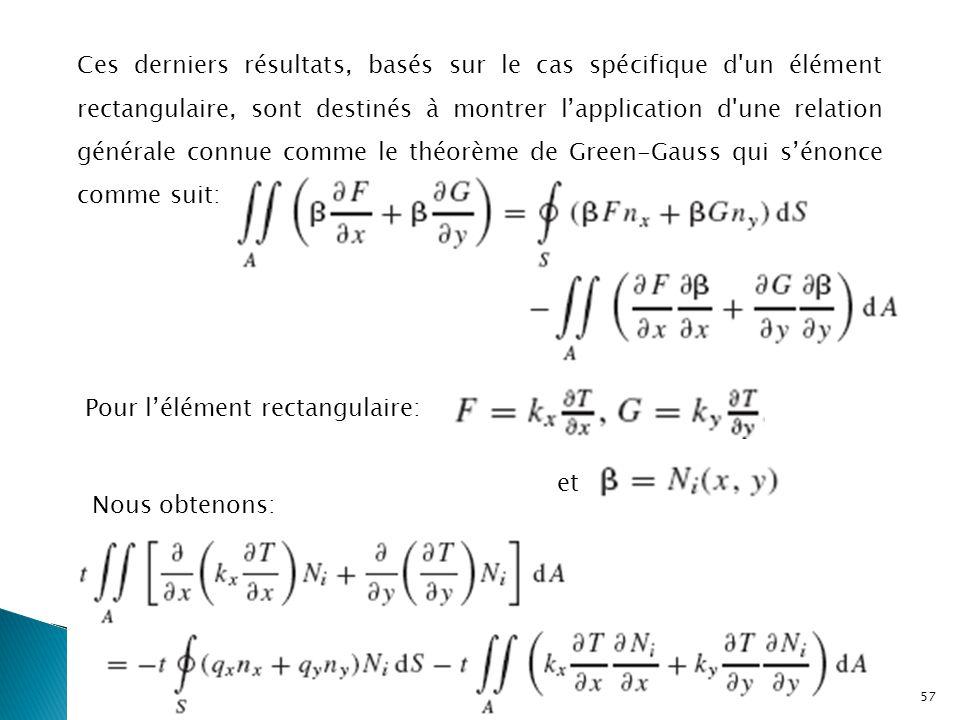 Ces derniers résultats, basés sur le cas spécifique d un élément rectangulaire, sont destinés à montrer l'application d une relation générale connue comme le théorème de Green-Gauss qui s'énonce comme suit: