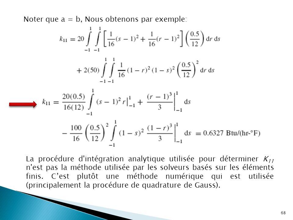 Noter que a = b, Nous obtenons par exemple: