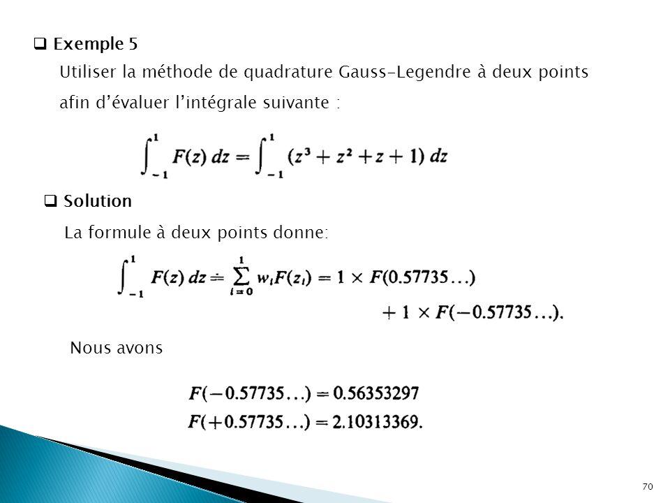 Exemple 5 Utiliser la méthode de quadrature Gauss-Legendre à deux points afin d'évaluer l'intégrale suivante :