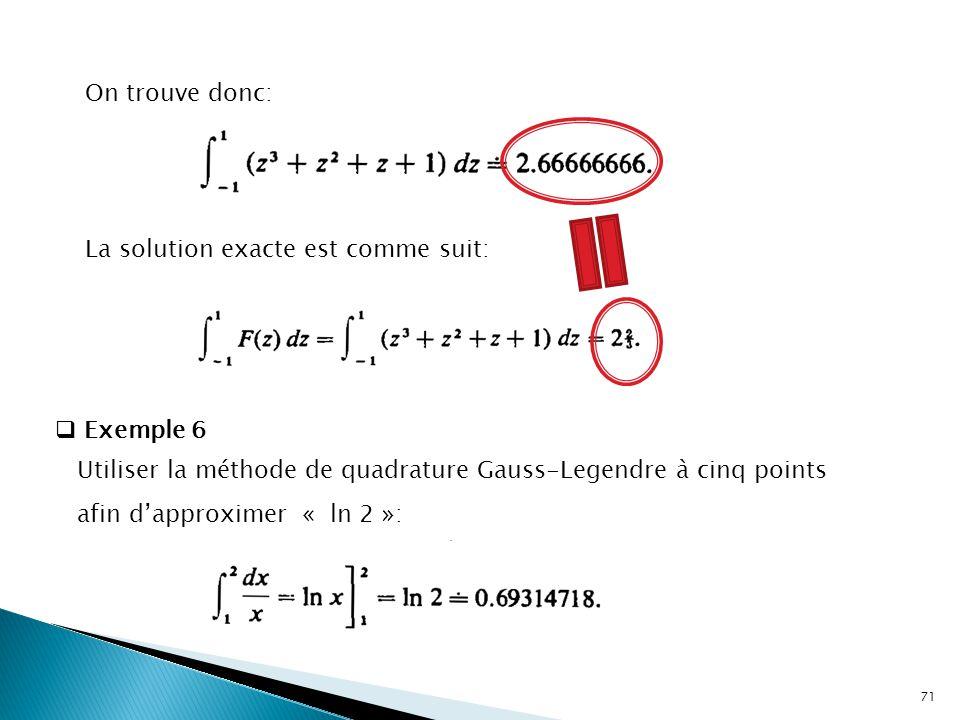 On trouve donc: La solution exacte est comme suit: Exemple 6.