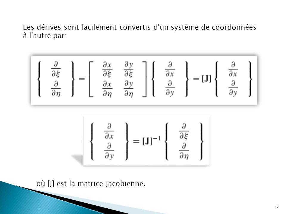 Les dérivés sont facilement convertis d un système de coordonnées à l autre par: