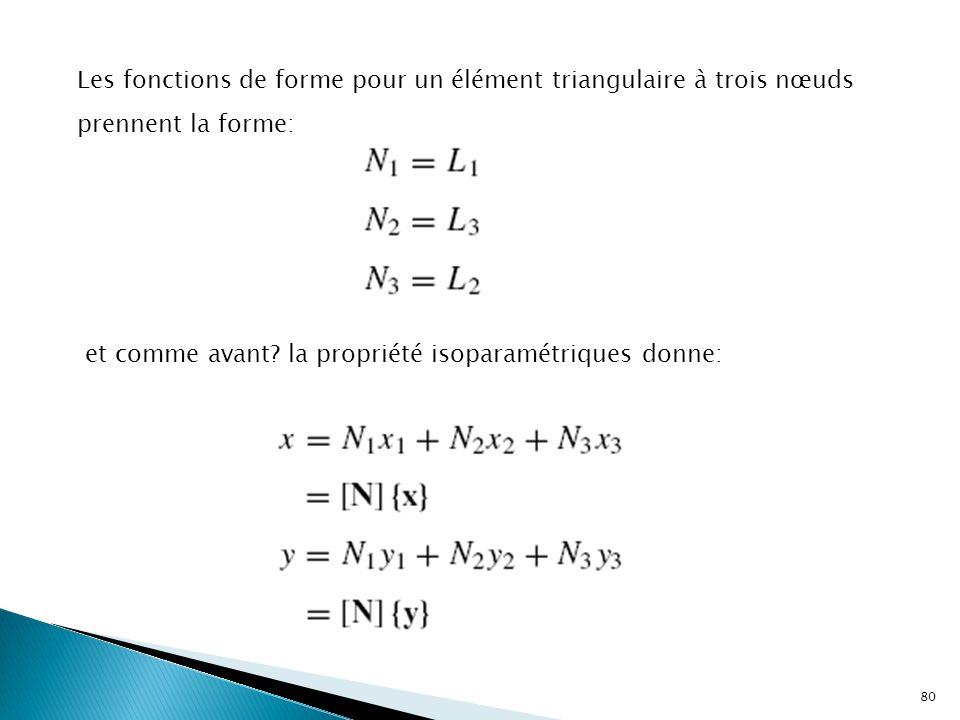 Les fonctions de forme pour un élément triangulaire à trois nœuds prennent la forme: