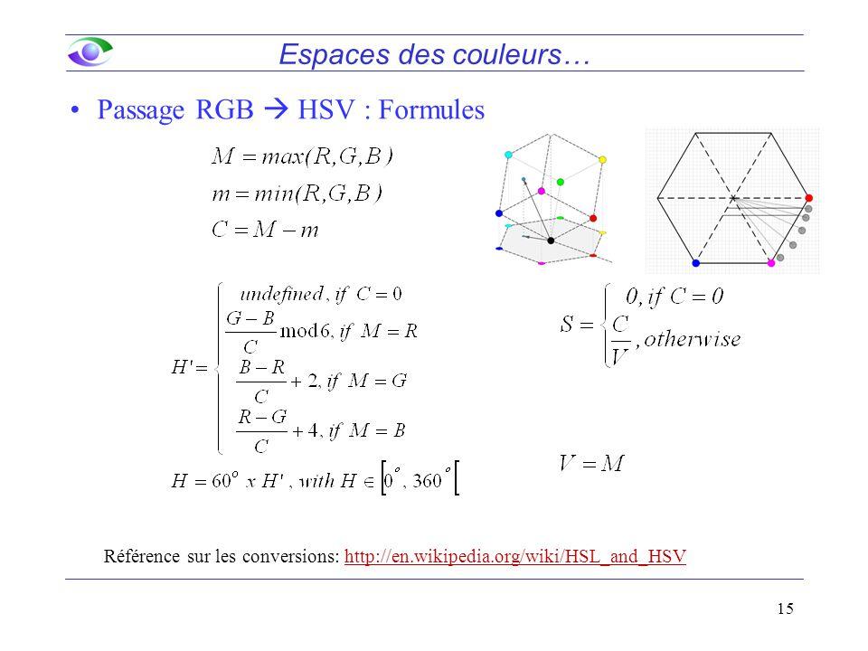 Passage RGB  HSV : Formules