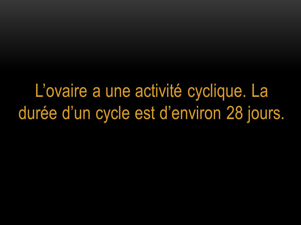 L'ovaire a une activité cyclique