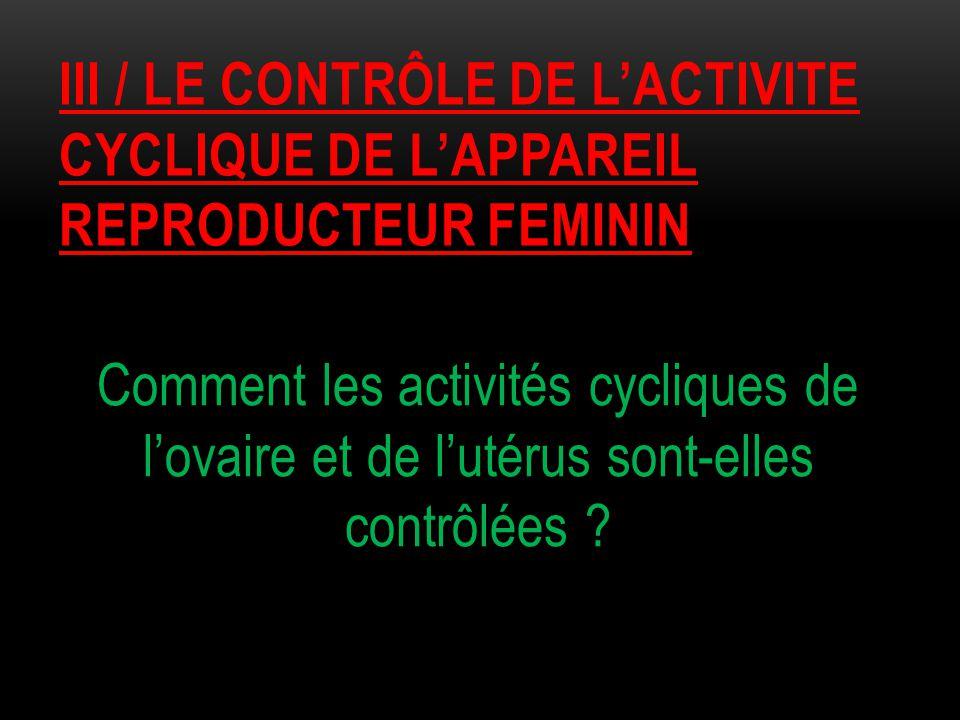 IiI / le CONTRÔLE DE L'ACTIVITE CYCLIQUE DE L'APPAREIL REPRODUCTEUR FEMININ