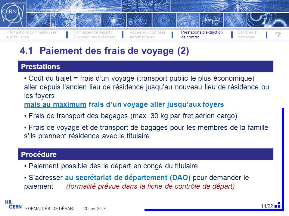 4.1 Paiement des frais de voyage (2)
