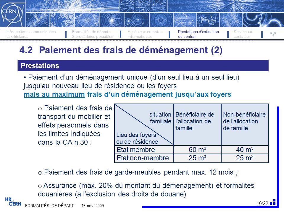 4.2 Paiement des frais de déménagement (2)