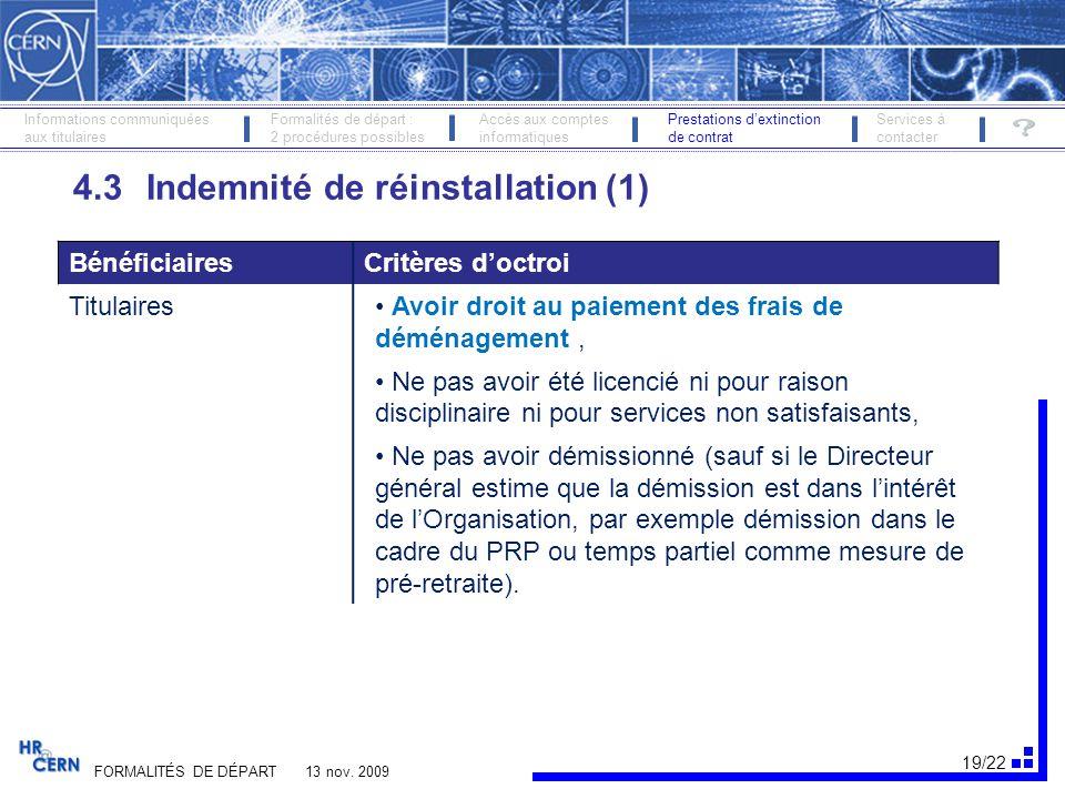 4.3 Indemnité de réinstallation (1)