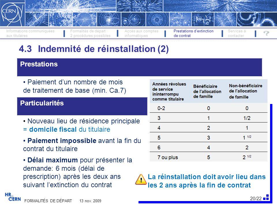 4.3 Indemnité de réinstallation (2)