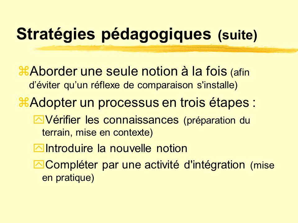 Stratégies pédagogiques (suite)
