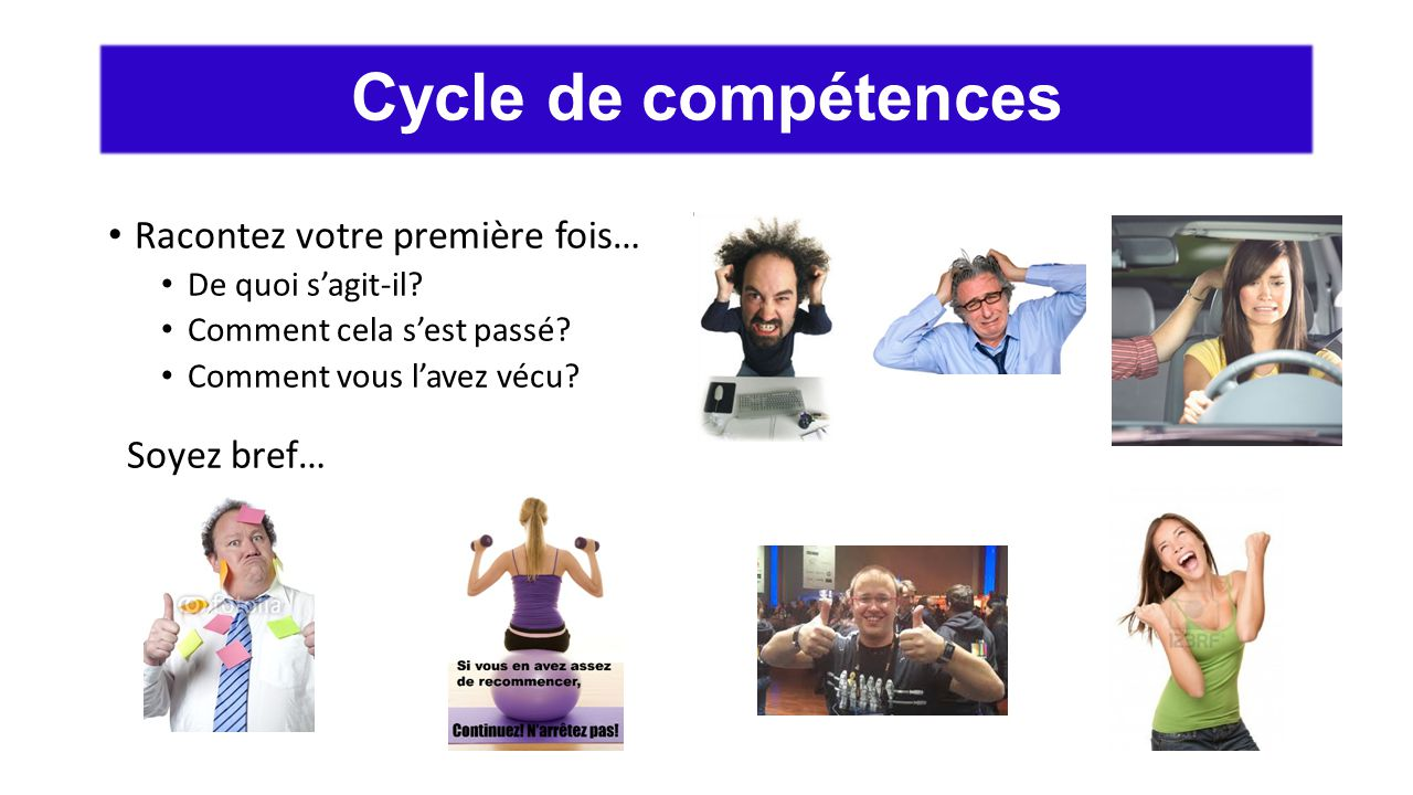Cycle de compétences Racontez votre première fois… Soyez bref…