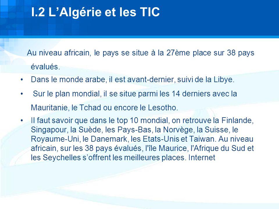I.2 L'Algérie et les TIC Au niveau africain, le pays se situe à la 27ème place sur 38 pays évalués.