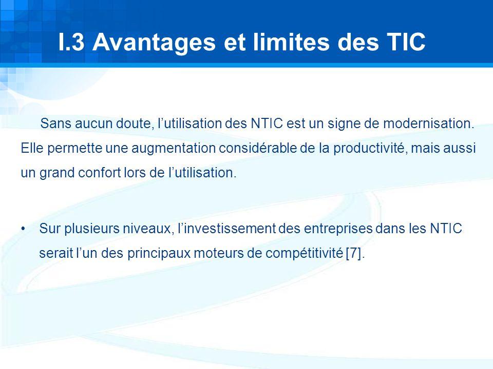 I.3 Avantages et limites des TIC