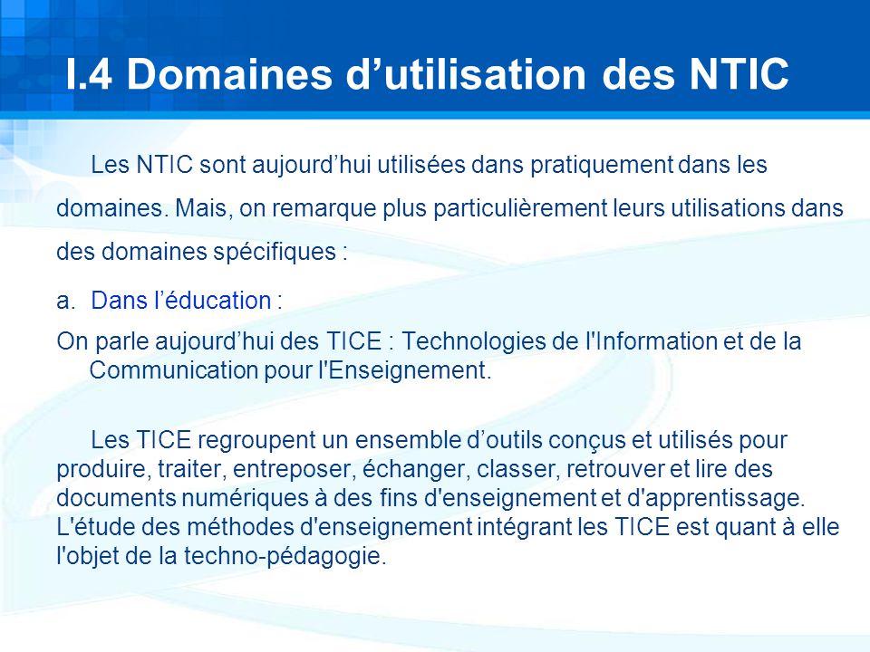 I.4 Domaines d'utilisation des NTIC