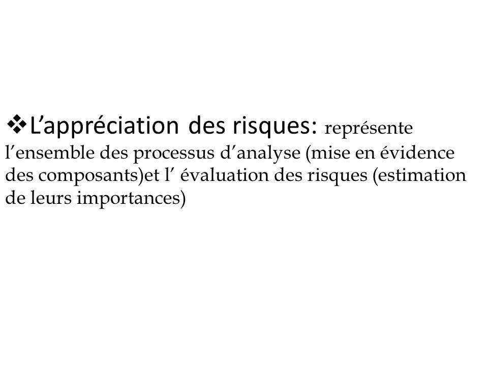 L'appréciation des risques: représente l'ensemble des processus d'analyse (mise en évidence des composants)et l' évaluation des risques (estimation de leurs importances)