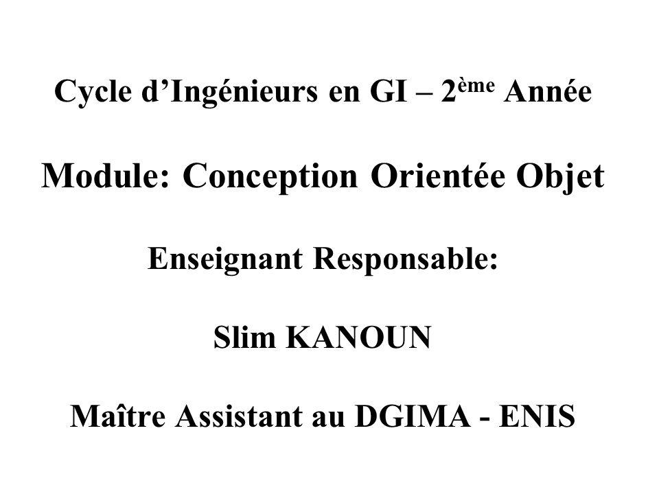 Cycle d'Ingénieurs en GI – 2ème Année Module: Conception Orientée Objet Enseignant Responsable: Slim KANOUN Maître Assistant au DGIMA - ENIS