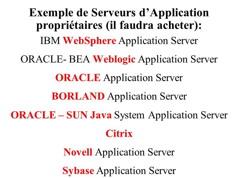 Exemple de Serveurs d'Application propriétaires (il faudra acheter):