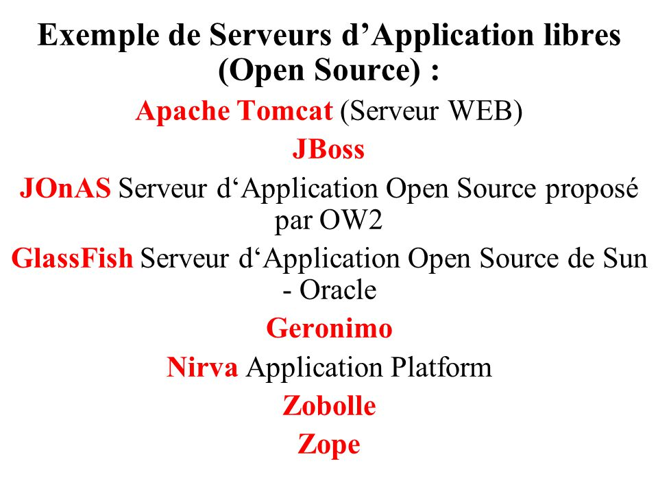 Exemple de Serveurs d'Application libres (Open Source) :
