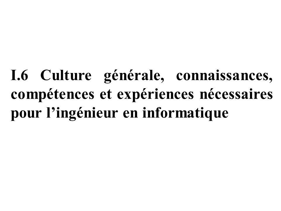 I.6 Culture générale, connaissances, compétences et expériences nécessaires pour l'ingénieur en informatique