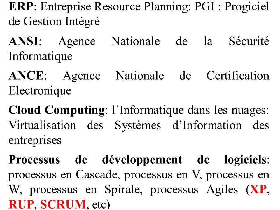 ERP: Entreprise Resource Planning: PGI : Progiciel de Gestion Intégré