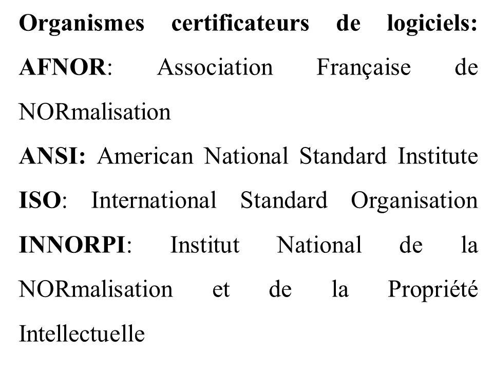 Organismes certificateurs de logiciels: AFNOR: Association Française de NORmalisation