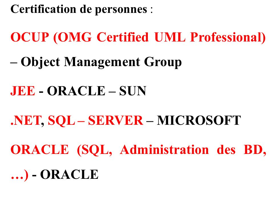 OCUP (OMG Certified UML Professional) – Object Management Group