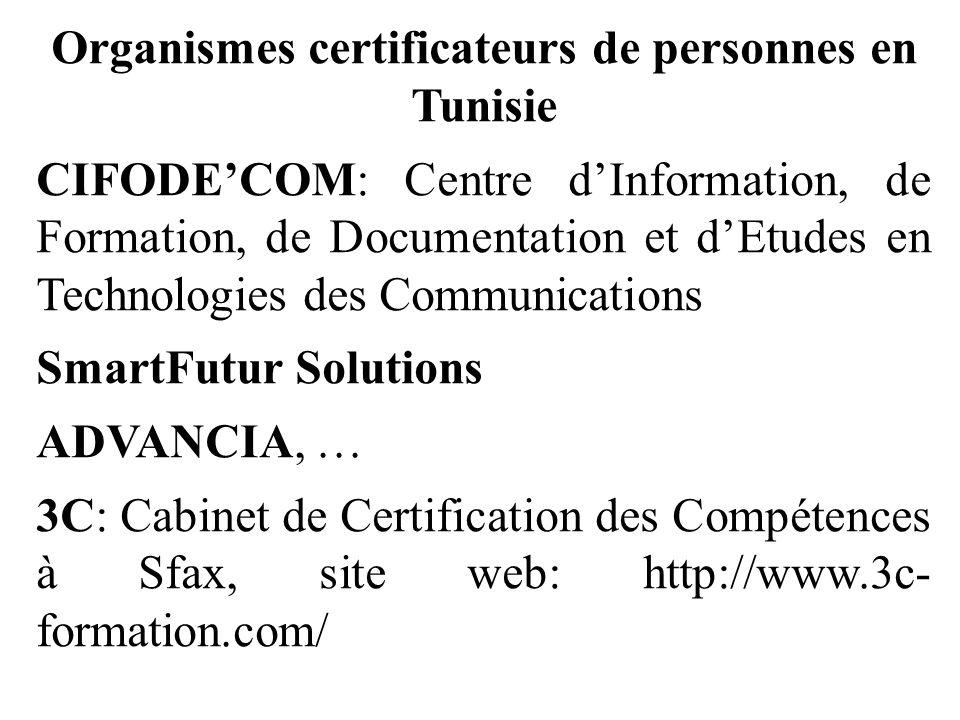 Organismes certificateurs de personnes en Tunisie