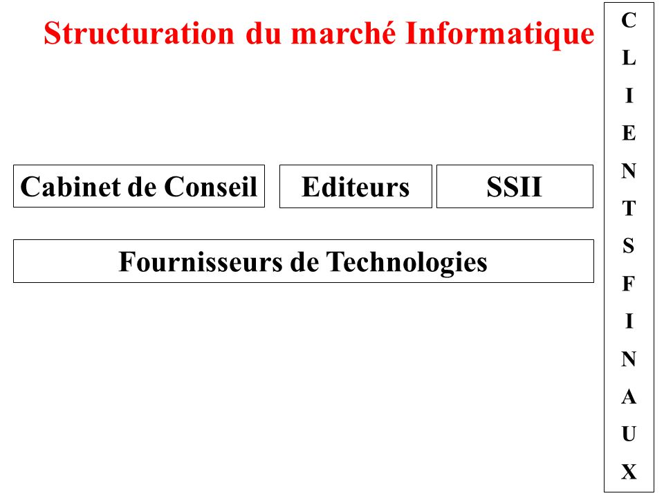 Structuration du marché Informatique Fournisseurs de Technologies
