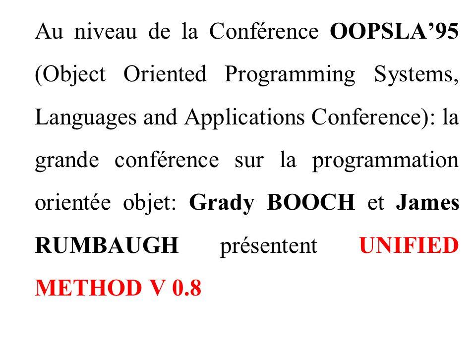 Au niveau de la Conférence OOPSLA'95 (Object Oriented Programming Systems, Languages and Applications Conference): la grande conférence sur la programmation orientée objet: Grady BOOCH et James RUMBAUGH présentent UNIFIED METHOD V 0.8