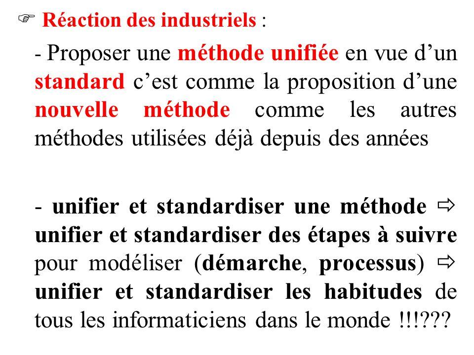 Réaction des industriels :