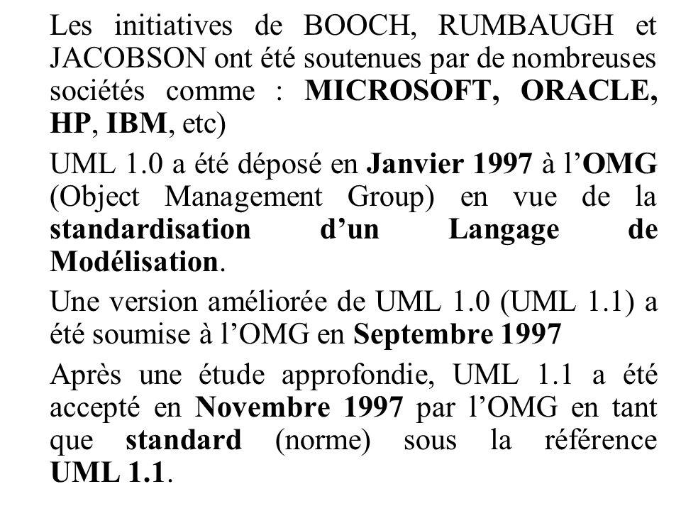 Les initiatives de BOOCH, RUMBAUGH et JACOBSON ont été soutenues par de nombreuses sociétés comme : MICROSOFT, ORACLE, HP, IBM, etc)