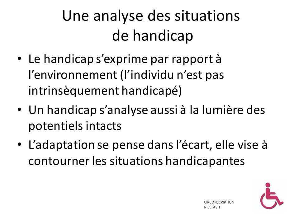 Une analyse des situations de handicap