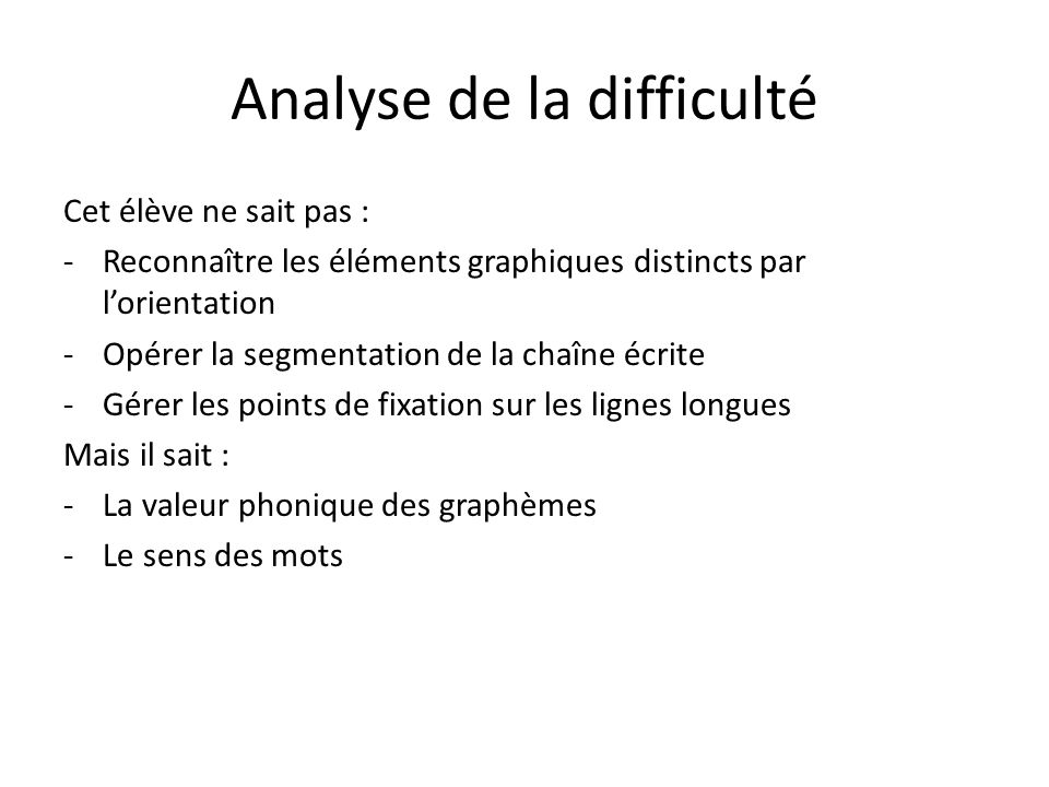 Analyse de la difficulté