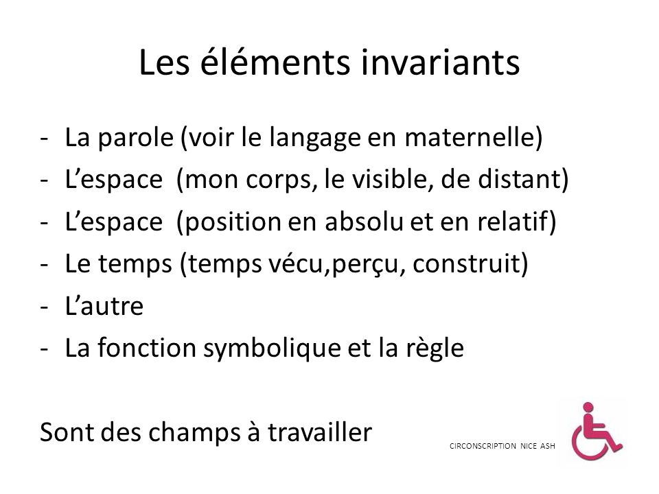 Les éléments invariants
