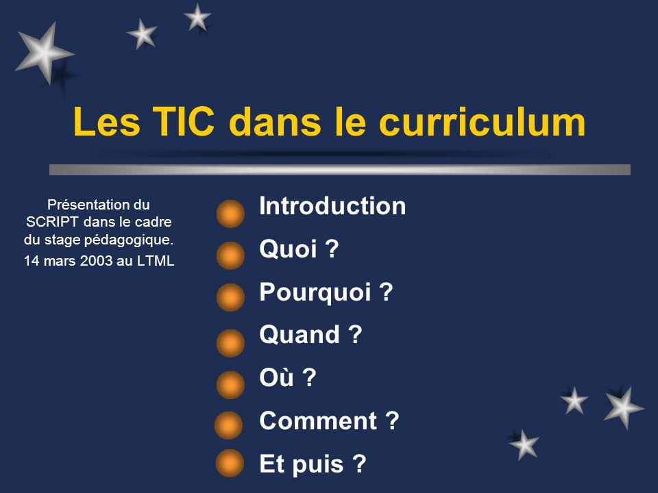 Les TIC dans le curriculum