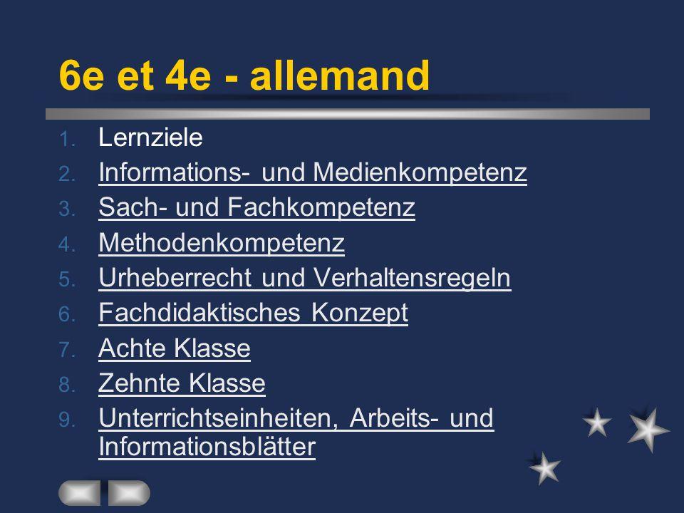 6e et 4e - allemand Lernziele Informations- und Medienkompetenz