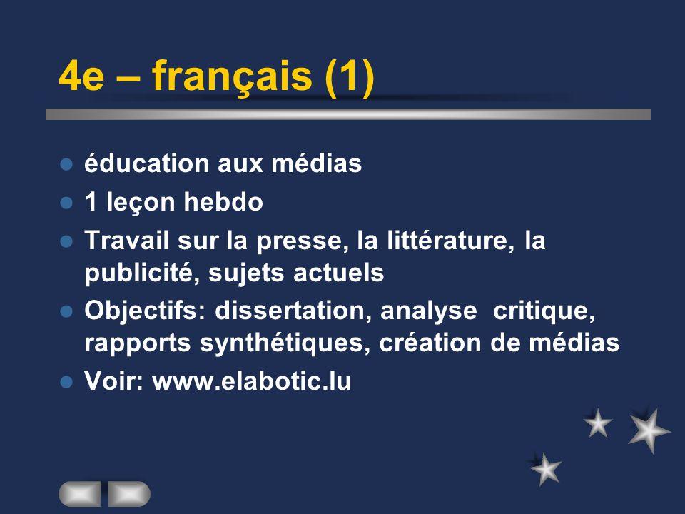 4e – français (1) éducation aux médias 1 leçon hebdo