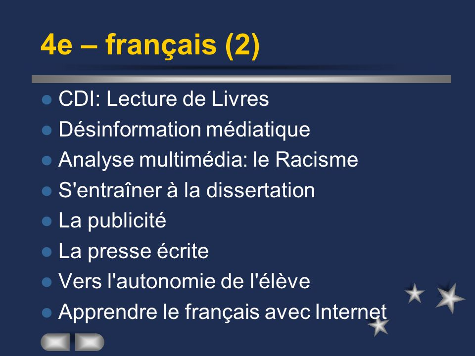 4e – français (2) CDI: Lecture de Livres Désinformation médiatique