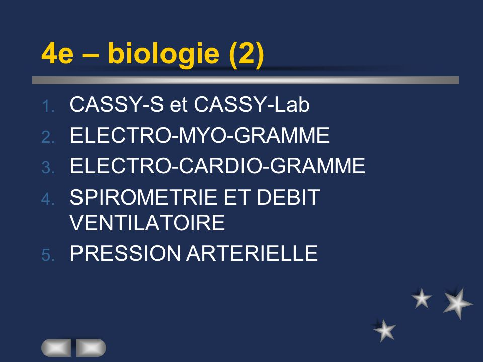 4e – biologie (2) CASSY-S et CASSY-Lab ELECTRO-MYO-GRAMME