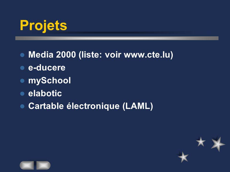 Projets Media 2000 (liste: voir www.cte.lu) e-ducere mySchool elabotic