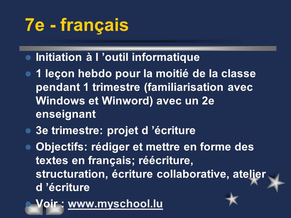 7e - français Initiation à l 'outil informatique