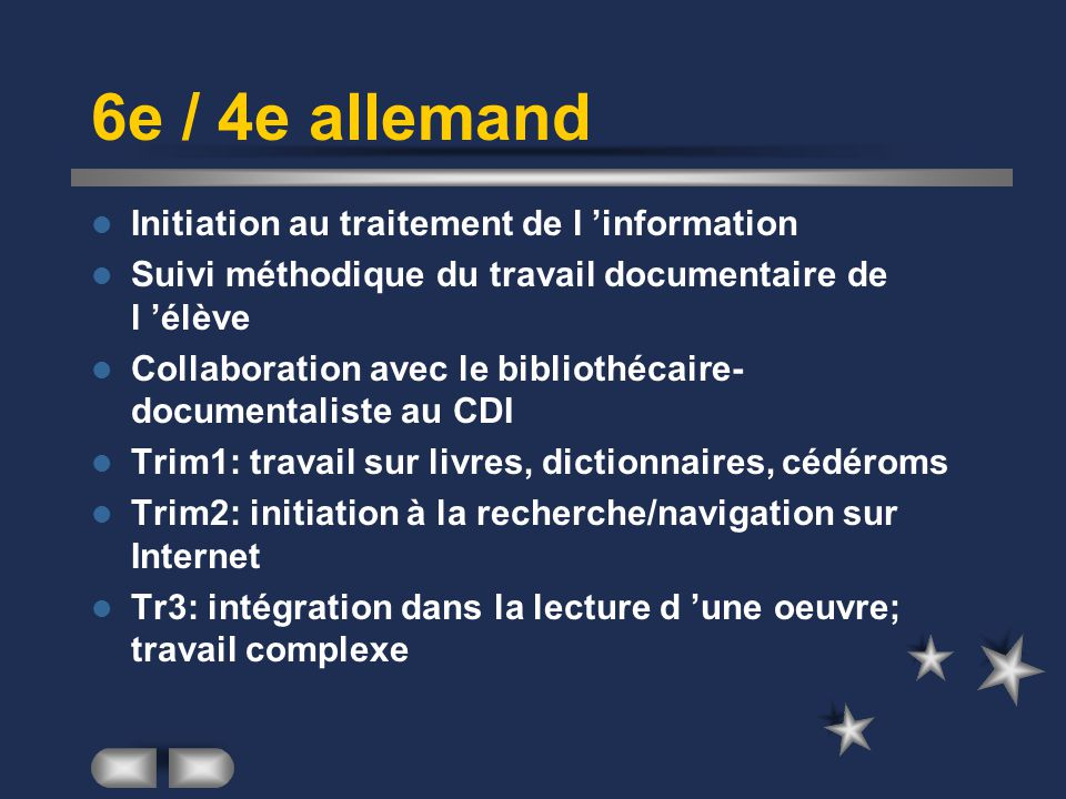 6e / 4e allemand Initiation au traitement de l 'information
