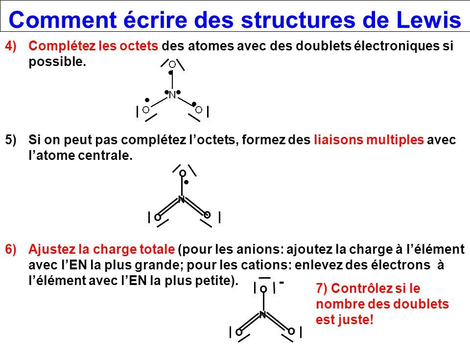 Comment écrire des structures de Lewis