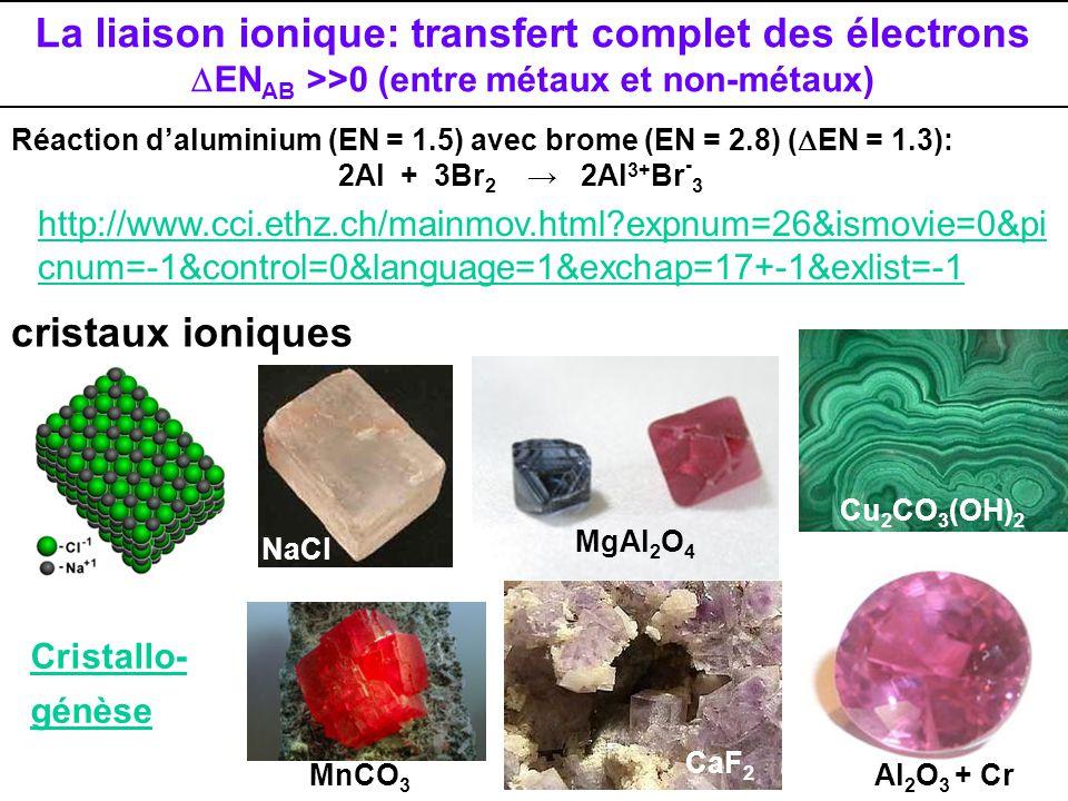 La liaison ionique: transfert complet des électrons