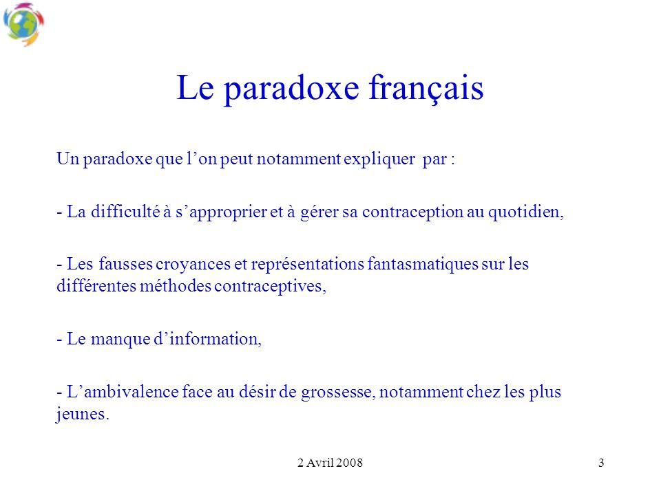 Le paradoxe français Un paradoxe que l'on peut notamment expliquer par : - La difficulté à s'approprier et à gérer sa contraception au quotidien,