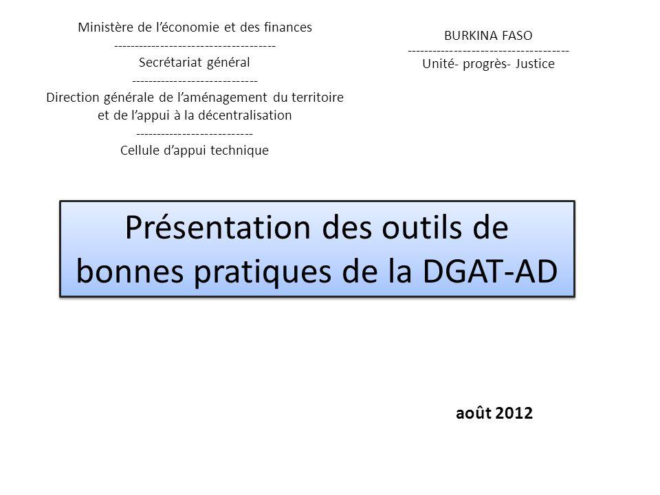 Présentation des outils de bonnes pratiques de la DGAT-AD