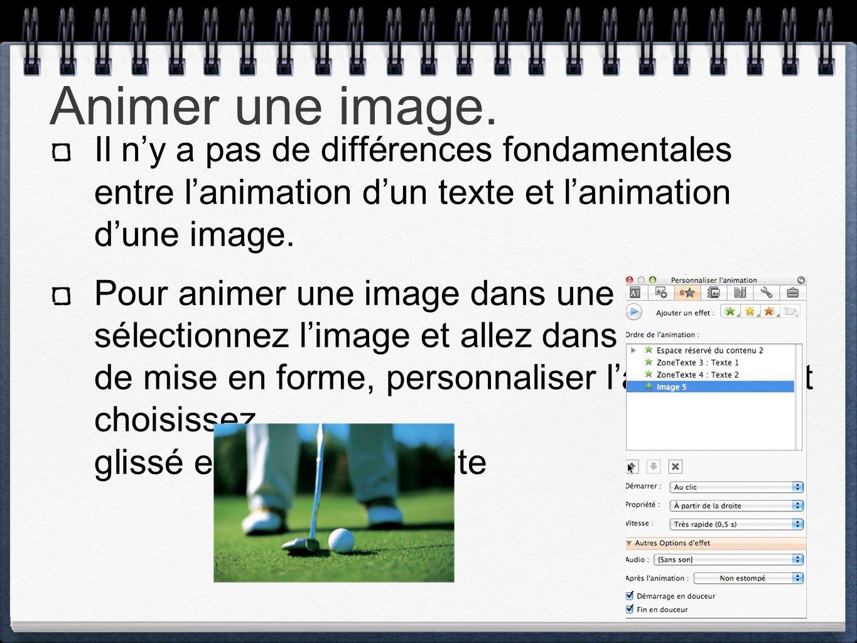 Animer une image. Il n'y a pas de différences fondamentales entre l'animation d'un texte et l'animation d'une image.